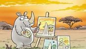 可爱的犀牛画画,总是有座山