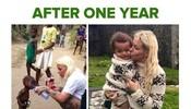 还记得左侧的这个照片吗?当时很多人疯转。右侧是一年后,同一个小孩,被爱和被照顾之后。