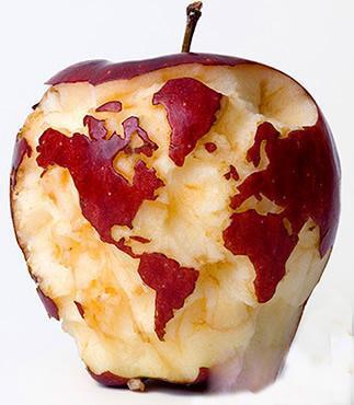 刚啃的苹果