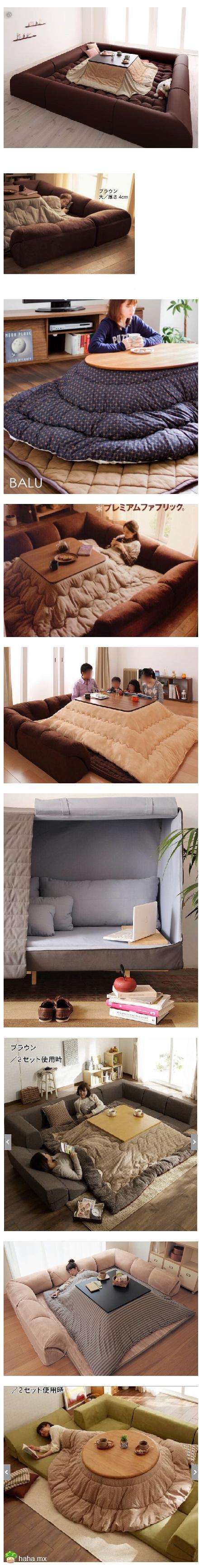 岛国发明的一些废人沙发、废人床、废人暖桌,隔着屏幕就感觉邪恶透顶,废人无数...不是我吹,只要有Wi-Fi,每一个我都能待到明年春天